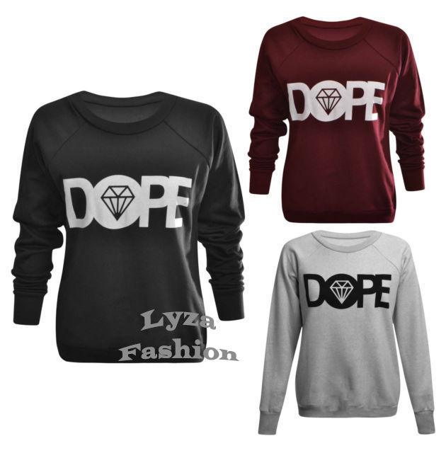 Womens Ladies Long Sleeve Diamond Dope Print Pullover Sweatshirt Jumper Top UN