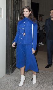 skirt,midi dress,midi skirt,crop tops,jacket,blue,sara sampaio,model off-duty,fall outfits,Paris Fashion Week 2017