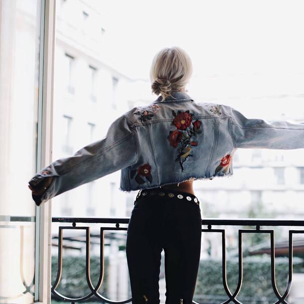 Jacket Tumblr Blue Jacket Cropped Jacket Embroidered