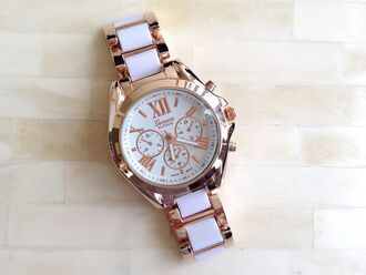 jewels gold watch gold watch white gold watch white lady rose gold white watch beautiful watch wantsomethingsimilar want exactly this one