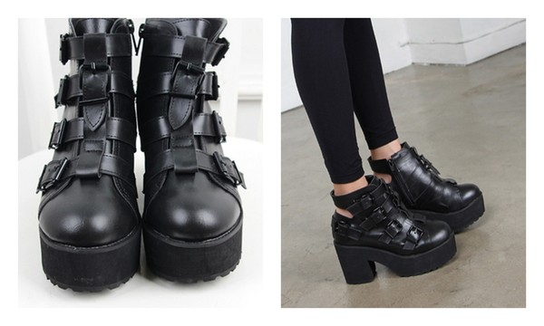 Punk Rock Buckle Strap Chunky Heels Platform womens Ankle Boots ...