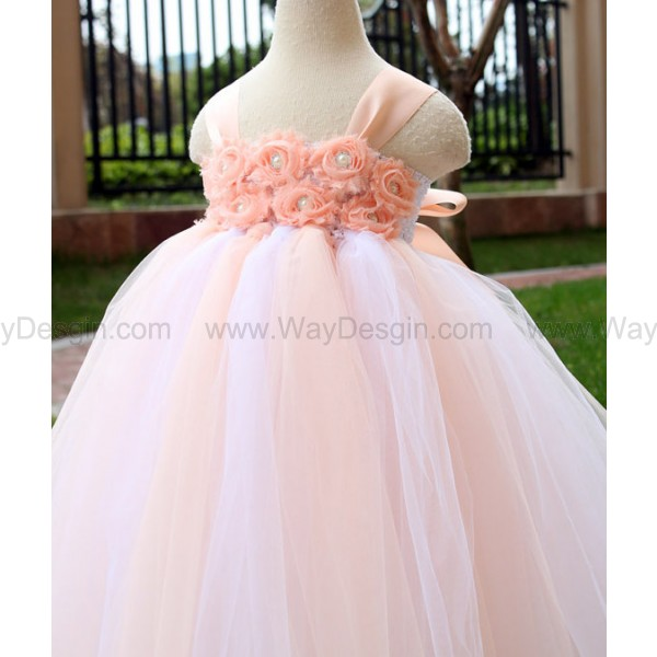 Flower Girl Dress Blush peach tutu dress baby dress toddler birthday dress wedding dress Newborn