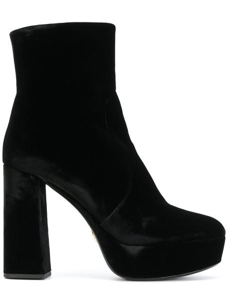 Prada women ankle boots leather black velvet shoes