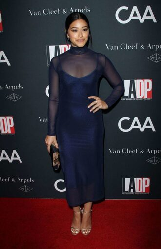 dress midi dress sheer see through navy navy dress gina rodriguez sandals turtleneck turtleneck dress mesh mesh dress