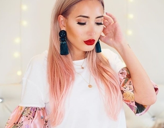 t-shirt prettylittlething pink oriental print tumblr