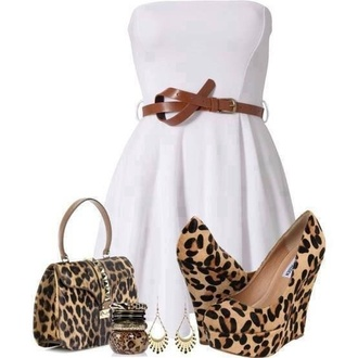 dress white cute high heels leopard print wedges cheetah and black wedges