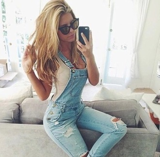 jumpsuit overalls denim overalls fashion style outfit