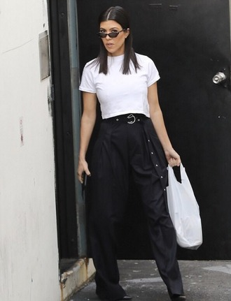 top pants crop tops black and white kourtney kardashian kardashians streetstyle spring outfits