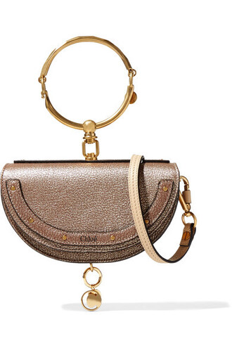 metallic bag shoulder bag gold leather