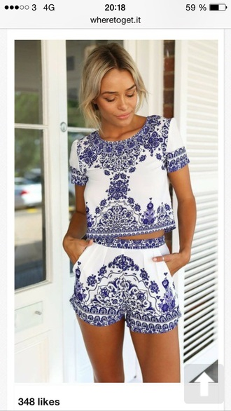 summer shorts jumpsuit blue romper shirt native american matching set blue and white