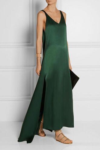 dress maxi dress minimalist dress green dress slit dress sandals gladiators gold sandals bag black bag bracelets cuff bracelet satin dress v neck dress