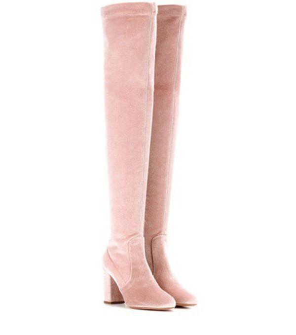 Aquazzura Velvet boots in pink