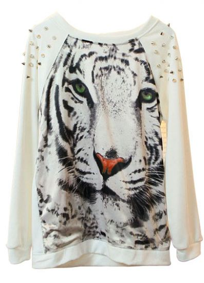 White Tiger Face Print Rivets Sweatshirt - Sheinside.com Mobile Site