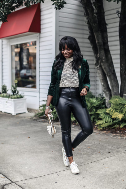 millennielle blogger jacket top pants jewels bag shoes green jacket velvet jacket blazer leather pants sneakers fall outfits
