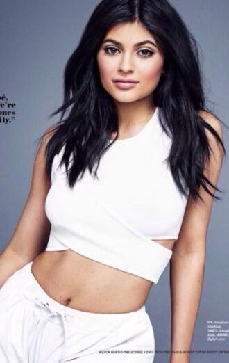 top white top crop tops editorial kylie jenner shorts