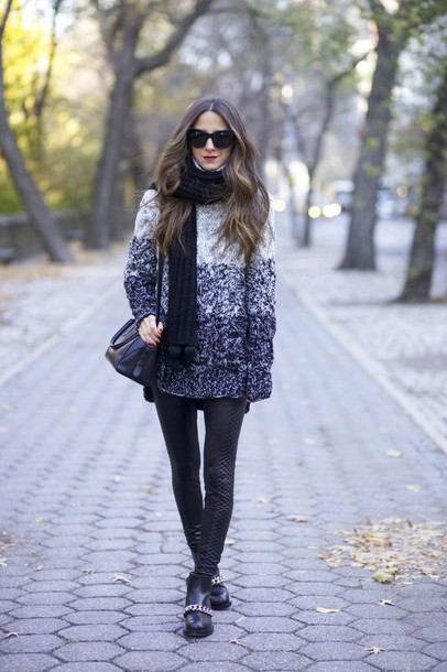 something navy blogger leggings scarf sunglasses winter sweater oversized sweater ankle boots