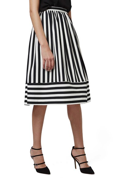 Horizontal Hem Stripe A-Line Midi Skirt | Nordstrom