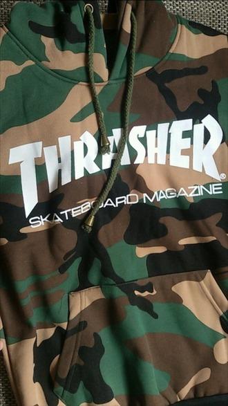 sweater thrasher camouflage green khaki army green hoodie sweatshirt
