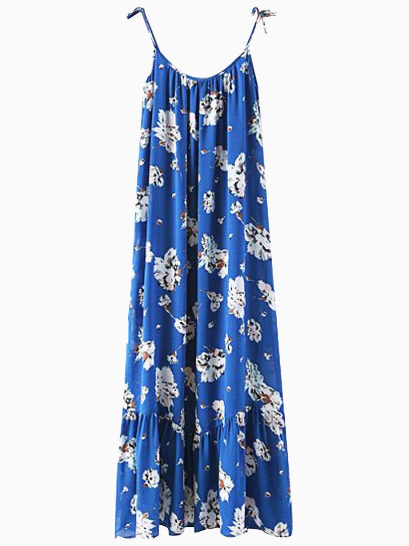 Blue Floral Chiffon Spaghetti Strap Dress - Choies.com