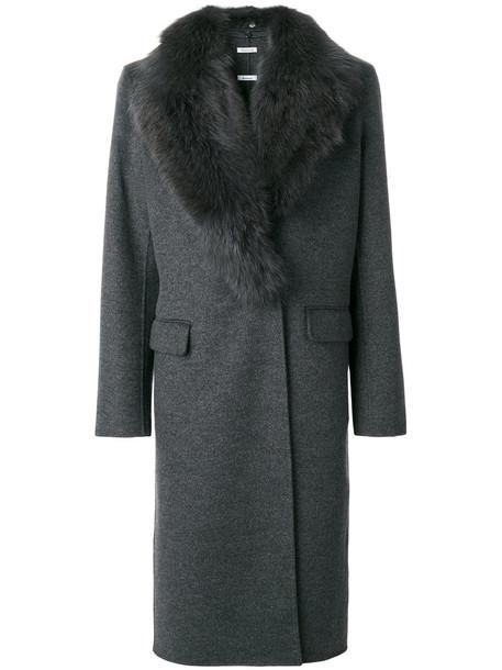 P.A.R.O.S.H. coat fur fox women cotton wool grey