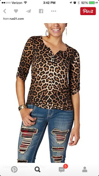 shirt leopard henley tunic top