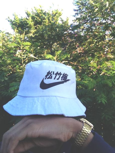 cd5af4f4f7580 nike menswear mens accessories bucket hat chinese letters swag white bucket  hat 松竹梅 hat nike hat