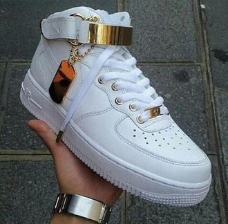 shoes nike air nike air force 1 nike air force forces fashion style gold white sneakers dope trill tumble pic high top nikes high top sneakers india westbrooks red