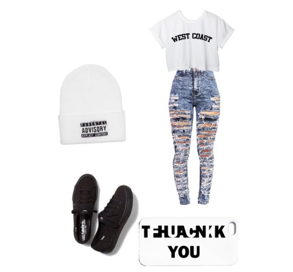 parental advisory explicit content west coast black shoes ripped jeans beanie