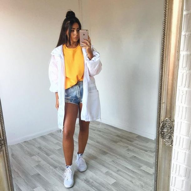 Jacket white white jacket shorts baddie outfit baddies white shoes denim shorts t-shirt ...
