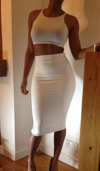 shirt crop tops midi skirt white two-piece clothes t-shirt dress white dress