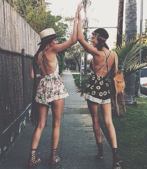 friends jumpsuit floral sunflower romper outing romper floral romper floral hippie shoes