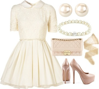 dress pearl off-white off-white dress collared dress patent shoes quilted bag preppy nude heels platform pumps
