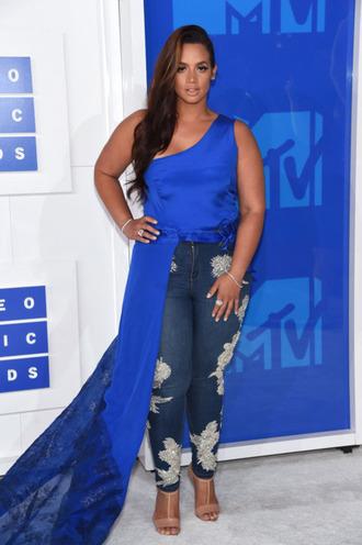 top vma dascha polanco asymmetrical asymmetrical top blue top one shoulder jeans embroidered embroidered jeans sandals sandal heels high heel sandals nude sandals