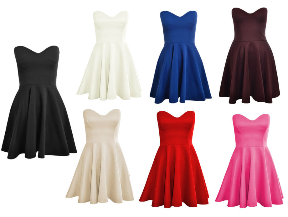 Womens Ladies Boobtube Padded Pleated Bodycon Stretch Skater Dress Size  8-14  24fc9b350