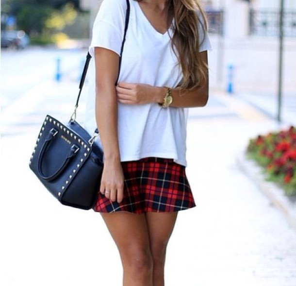 Skirt Plaid Tartan Check Red White T Shirt Black