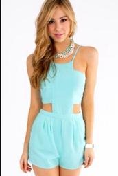 romper,baby blue romper,blue,cute outfits,cut-out dress