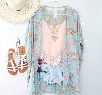 top pink lace top jacket blue floral kimono jewels gold necklace cardigan hat