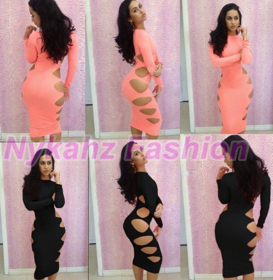 New Sexy Long Sleeves Side Cut Out Bodycon Cut Out Bandage Dress s M L 260 | eBay