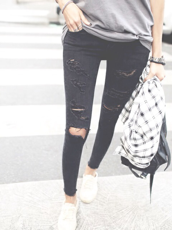 jeans black jeans ripped ripped jeans skinny jeans old school shoes bag