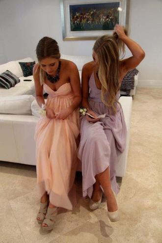peach dress bustier prom dress lilac dress prom dress homecoming dress dress clothes maxi dress lavender dress coat pastel dress pink shoes heels pastel nude strapless high heels wedges strapless dress lavender bridesmaid dress prom purple nude pumps light pink light purple long dress peach