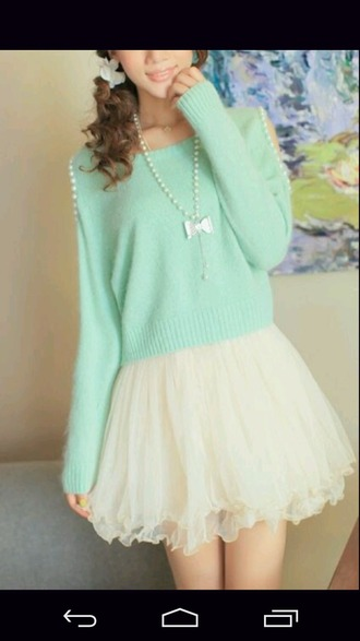 sweater blue pearl korean fashion korean pastel kawaii cute
