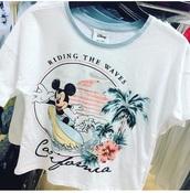 shirt,mickey mouse,disney,crop tops,t-shirt,white,summer sports,waves,beach