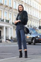 peexo,blogger,coat,pants,shoes,bag,faux fur jacket,winter outfits,ankle boots