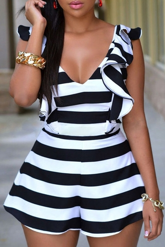 romper fashion style trendy stripes ruffle summer cute zaful