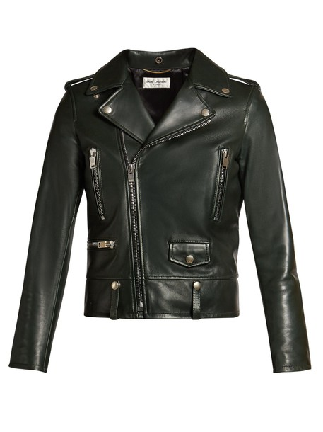 Saint Laurent jacket biker jacket fit leather dark green