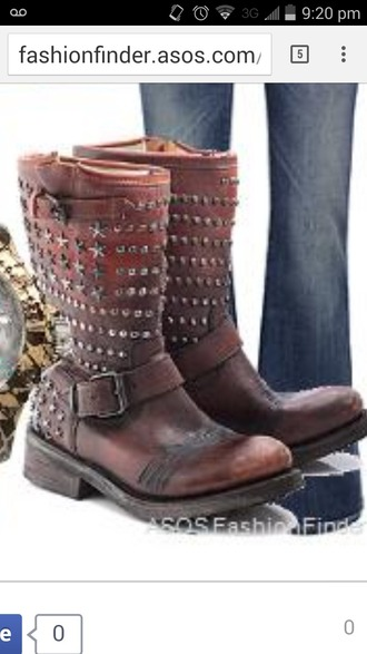 shoes brown boots boots with studs