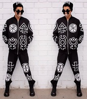 jacket,pants,black and white,designs,sunglasses