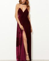 dress,girl,girly,girly wishlist,purple,velvet,maxi dress,side split maxi dress,slit dress
