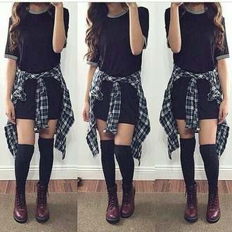 dress girl hair oufit shoes drmartens clothes over the knee socks shirt socks
