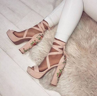 shoes heels pink baby pink ribbon suede flowers floral nude nude heels floral flowers platforms nude heels beiges e